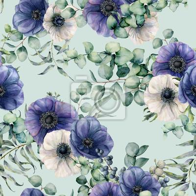 Akwarela bezszwowe wzór z liści eukaliptusa, niebieski i biały anemon. Ręcznie malowane kwiaty, zielony brunch na niebieskim tle pastelowych. Kwiecista botaniczna ilustracja dla projekta, tkanina, tło