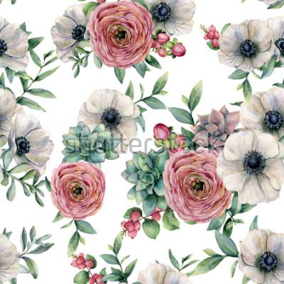 Naklejka Akwarela bezszwowe wzór z soczyste, Jaskier, Anemon. Wręcza malujących kwiaty, eucaliptus liście i sukulent gałąź odizolowywającą na białym tle. Ilustracja do projektowania, drukowania lub tła