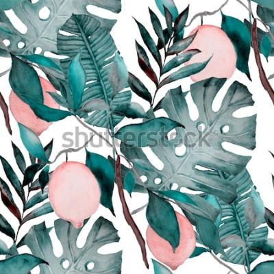Naklejka Akwarela bezszwowe wzór z tropikalnych liści i owoców cytrusowych. Moda w botaniczny nadruk.