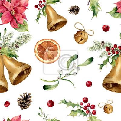 Akwarela Boże Narodzenie bez szwu. Nowy rok ozdoba z drzewa dzwon, ostrokrzew, jemioła, poinsecja, plasterka pomarańczy, sosna stożek i łuk do projektowania, drukowania lub tła