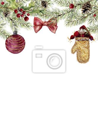Akwarela Boże zaproszenie z zabawki. Jodła oddział z ostrokrzewu, christmas ball, łuk i rocznika zabawki. Nowy rok drzewa granicy z wystrojem do projektowania, drukowania lub tła