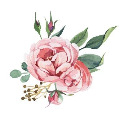 Naklejka Akwarela bukiet kwiatów piwonii i blosom izolować na białym tle na ślub, zaproszenia, kartki walentynkowe i grafiki