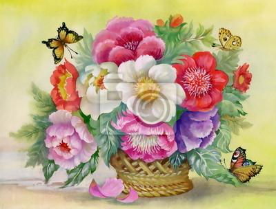 Akwarela bukiet kwiatów z motylem
