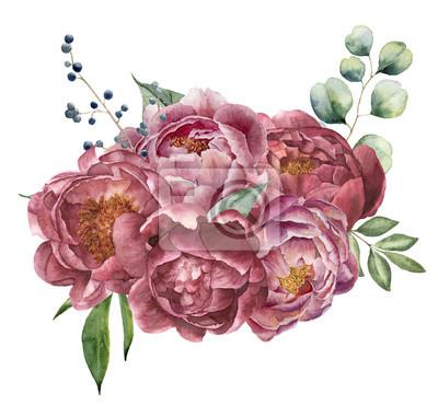 Akwarela bukiet piwonii, eukaliptusa i zieleni. Ręcznie malowane kwiatowy skład z kwiatów, jagody i liści samodzielnie na białym tle. Vintage botaniczne ilustracji do projektowania.