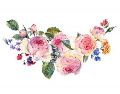 Naklejka Akwarela bukiet róż angielskich i kwiaty