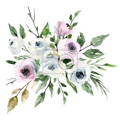 Akwarela bukiet z kwiatami, różowymi i białymi różami. Bukiet na zaproszenie na ślub, kartkę z życzeniami, plakat, ulotka, projekt banera. Kwiatowy obraz akwarela na białym tle.