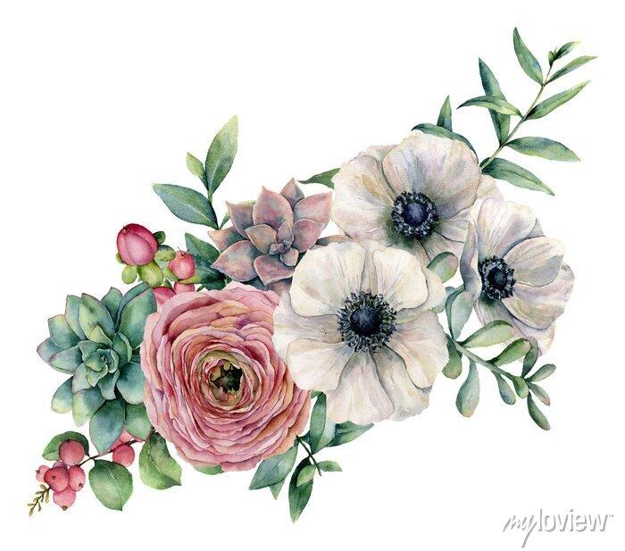 Naklejka Akwarela bukiet z soczyste, Jaskier i Anemon. Ręcznie malowane kwiaty, eucaliptus liści i soczysty oddział na białym tle. Ilustratorzy do projektowania, drukowania lub tła.