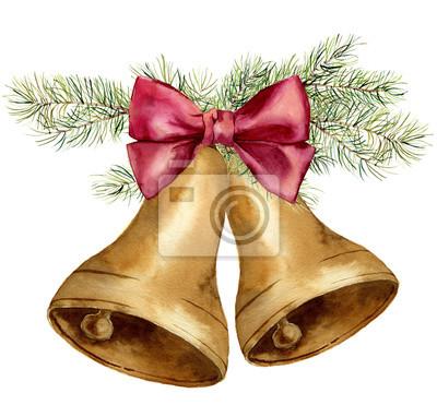 Akwarela christmas dzwon z gałęzi jodłowych i różową kokardką. Złote dzwony z choinki samodzielnie na białym tle. Do projektowania, grafiki lub tła