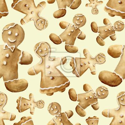 Akwarela Christmas gingerbread man wzór. Ręcznie malowane pierniki mężczyzny i kobiety samodzielnie na żółtym tle. Do projektowania, tła lub druku