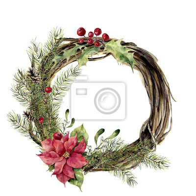 Akwarela Christmas Wianek z wystrojem. Nowy rok drzewa i drewno gałąź wieniec z ostrokrzewu, jemioły i poinsecja do projektowania, drukowania lub tła