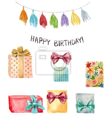 Akwarela elementem najlepszego ustawienia. Ręcznie malowane ilustracji z pomponem wianka, z okazji urodzin napis i urodzinowy prezent z kokardą samodzielnie na białym tle.