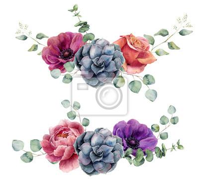 Akwarela elementy kwiatu samodzielnie na białym tle. Vintage style wiązanka zestaw z gałęzi eukaliptusa, róży, sukulenty, Piwonia, kwiat anemon, pozostawia. Kwiat ręcznie malowany wzór
