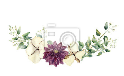 Akwarela elementy kwiatu samodzielnie na białym tle. Vintage style zestaw z endeed gałęzi eukaliptusa i liści, kwiatów bawełny. Naturalne ręcznie malowane przedmiotem projektu
