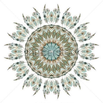 Naklejka Akwarela etniczne pióra abstrakcyjne mandali. Koronkowy wzór z ozdobnymi piórkami z geometrycznymi elementami łączącymi na białym tle. Ręcznie malowane ilustracje boho, tribal design