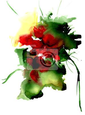 Akwarela fantasy kwiat. Ręcznie rysowane kwiatów ilustracji artystycznej. Do projektowania, tła i tekstylnego