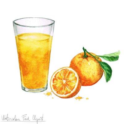 Naklejka Akwarela Food Clipart - Sok pomarańczowy samodzielnie na białym tle