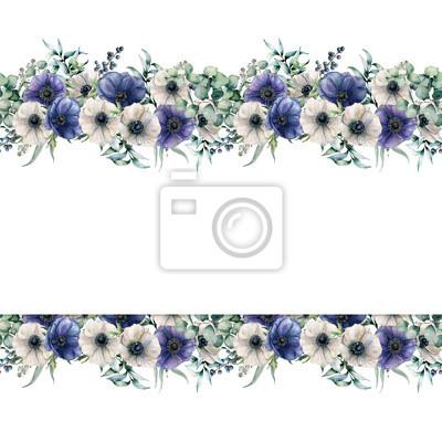 Akwarela granicy z zawilce niebieski i biały. Ręcznie malowane kwiaty z liści eukaliptusa i gałęzi, jagody na białym tle. Kwiecista elegancka ilustracja dla projekta, druk