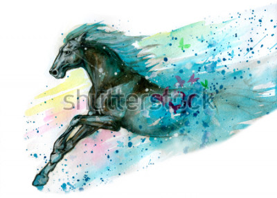 Naklejka Akwarela ilustracja konia. Ręcznie s
