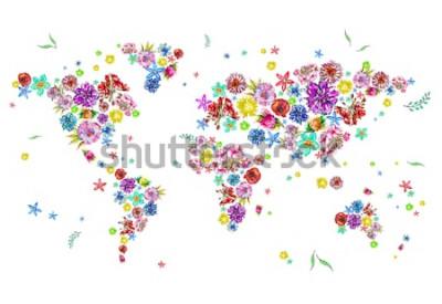 Naklejka Akwarela ilustracja mapa świata w kwiaty