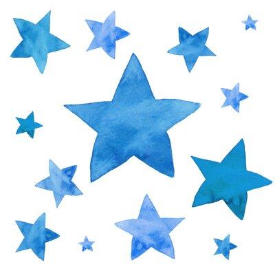 Naklejka Akwarela ilustracja niebieskich gwiazd zestaw