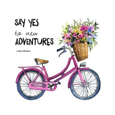 Naklejka Akwarela ilustracja roweru z kwiatami
