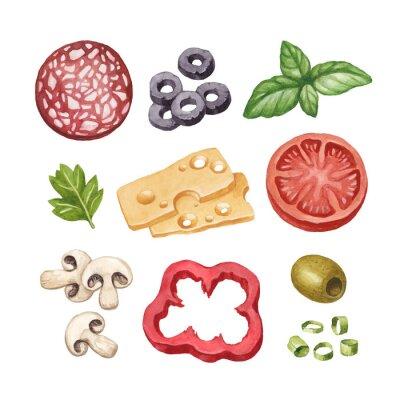 Naklejka Akwarela ilustracja składników żywności