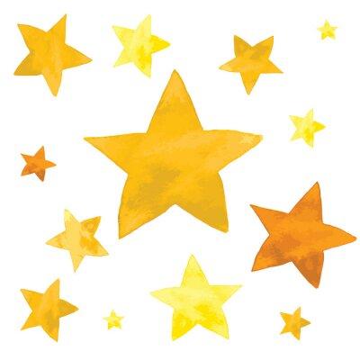 Naklejka Akwarela ilustracja żółte gwiazdy zestaw