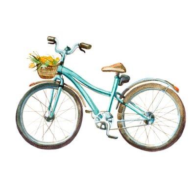 Naklejka Akwarela ilustracji. Dziewczynka mięta rower z koszem pełnym żółtych kwiatów.