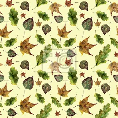 Akwarela jesieni pozostawia bez szwu deseń. Ręcznie malowane dąb, klon, osika spadek liści ozdoba wyizolowanych na żółtym tle. Ilustracje z roślinami do projektowania, drukowania tkanin