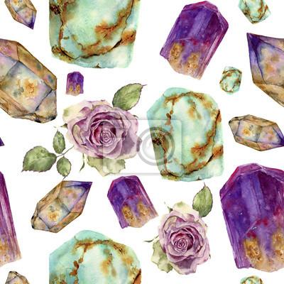 Akwarela kamienie szlachetne i róży kwiat wzór. Jade turkus, ametyst i rauchtopaz kamienie, rocznika róże z liści bez szwu ozdoba samodzielnie na białym tle. Na projekt, druk