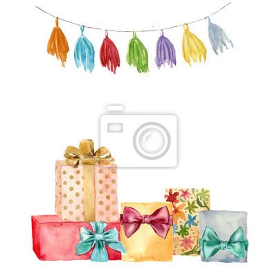 Akwarela kartkę z życzeniami. Ręcznie malowane ilustracji z pomponem wianek i urodzinowych prezentów zestaw z kokardą samodzielnie na białym tle.