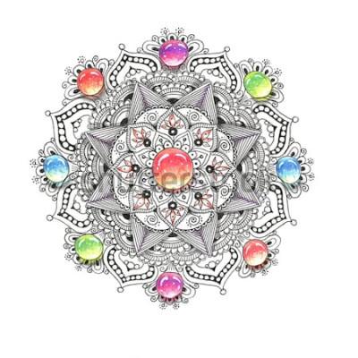 Naklejka Akwarela kolorowy mandali z kamieniami. Piękny okrągły wzór. Ręka rysujący abstrakcjonistyczny tło. Zaproszenie, nadruk na koszulce, karta ślubna. Wystrój do projektowania w stylu orientalnym.