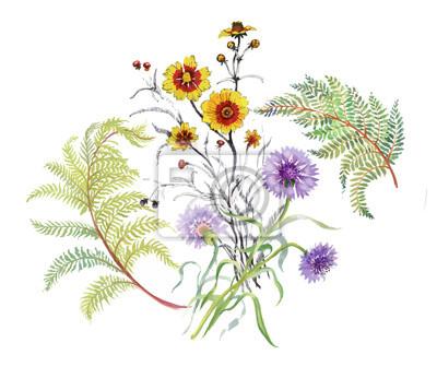 Akwarela kompozycja kwiatowa. Zawiera ścieżkę przycinającą. Szybka izolacja. Malowane ręcznie.