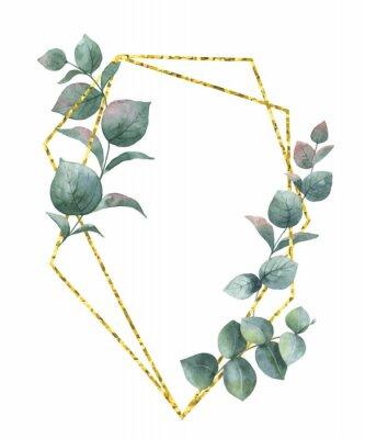 Naklejka Akwarela kompozycja wektor z gałęzi eukaliptusa i złota rama geometryczna.