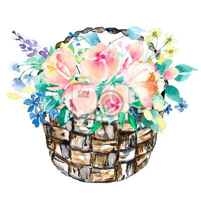 Akwarela koszyk z kwiatami