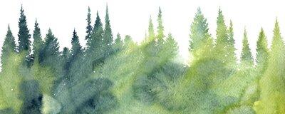 Naklejka akwarela krajobraz z drzewami