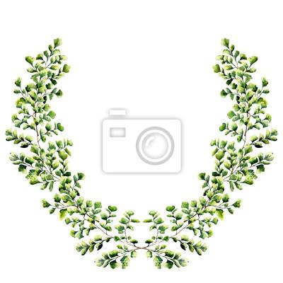 Akwarela kwiatów granicy z liści miłorzębu paproci. Ręcznie malowany kwiatowy wieniec z gałęzi, liści paproci na białym tle. Do projektowania lub tła