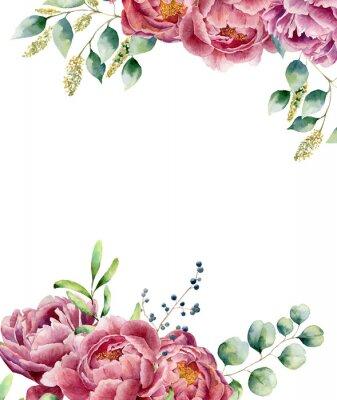 Naklejka Akwarela kwiatów karty na białym tle. Wiązanka stylu vintage zestaw z gałęzi eukaliptusa, piwonii, jagody, zieleni i liści. Kwiat ręcznie malowany wzór