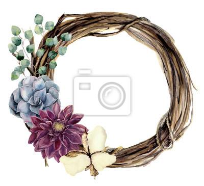 Akwarela kwiatów wieniec gałązki. Ręcznie malowane drewno wieniec ze srebra dolara eukaliptusa, dalia, kwiatu bawełny i soczyste. Floral ilustracji do projektowania i tła