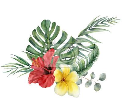 Akwarela kwiatowy bukiet tropikalny z hibiskusa, plumerii i eukaliptusa. Ręcznie malowane monstera, gałąź palmy, frangipani na białym tle. Ilustracja do projektowania, drukowania lub tła.