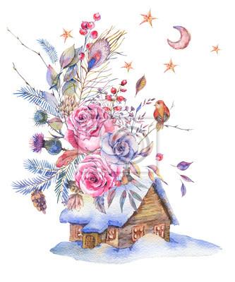 Akwarela kwiatowy kartkę z życzeniami z róż rocznika i domu,