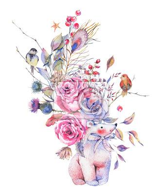 Akwarela kwiatowy kartkę z życzeniami z słodki Miś polarny