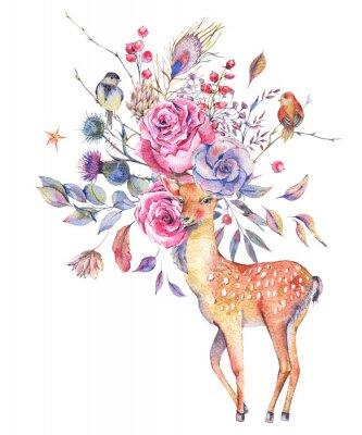 Akwarela kwiatowy kartkę z życzeniami z słodkie jelenie
