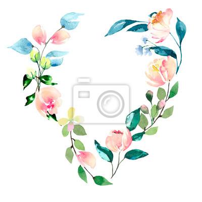 Akwarela kwiatowy serca ramki