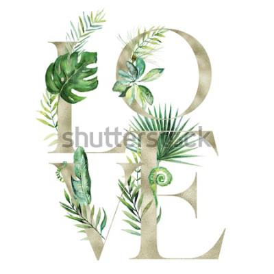 Naklejka Akwarela kwiatowy tropikalny egzotyczny ilustracja - transparent układ miłości z listów złota tekstury, na wesele stacjonarne, pozdrowienia, tapety, moda, tło. Palma, paproć, banan, zielone liście