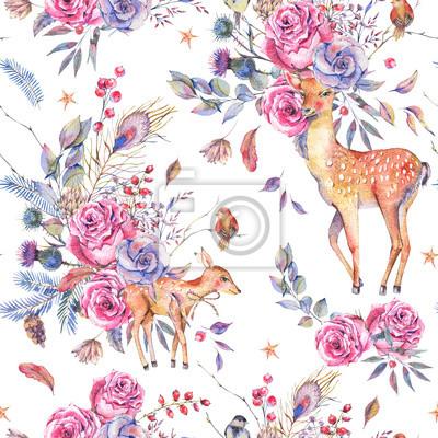 Akwarela kwiatowy wzór semless z cute jelenia