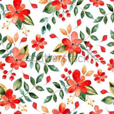 Naklejka Akwarela kwiatowy wzór z czerwonych kwiatów i liści. Kolorowa ilustracja kwiatowy. Jesień lub lato ręcznie wykonane na zaproszenie, wesele lub karty z pozdrowieniami, może służyć do tapety