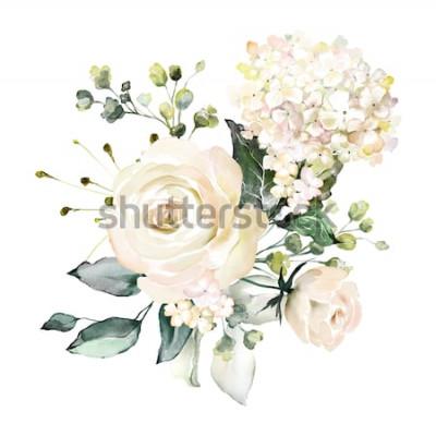 Naklejka akwarela kwiaty. ilustracja kwiatowa, liść i pąki. Kompozycja botaniczna na ślub lub kartkę z życzeniami. gałąź kwiatów - róże abstrakcji, hortensja
