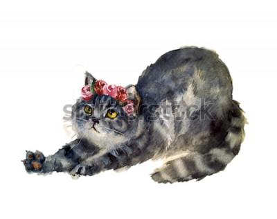 Naklejka Akwarela ładny kot z kwiatami