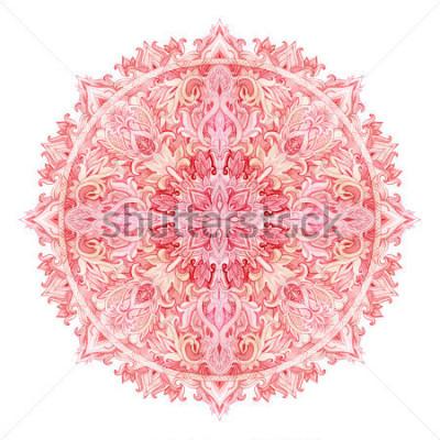 Naklejka Akwarela mandali. Ręcznie rysowane wzór w stylu wschodnim. Ozdobny wzór koronki do projektowania w stylach plemiennych i boho. Tradycyjna koronka odizolowywająca na białym tle.